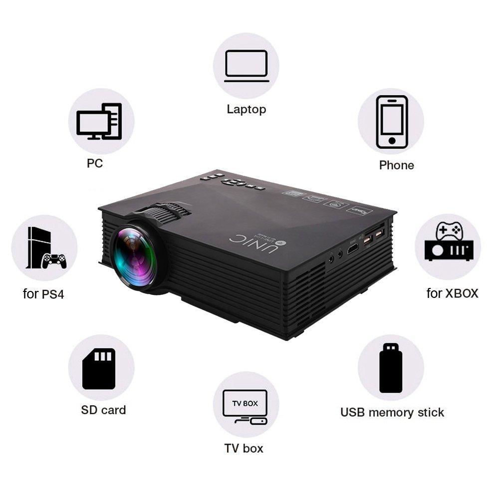 Docooler UNIC UC46 + Proyector LED 800 * 480 Pixel 1200 Lúmenes ...