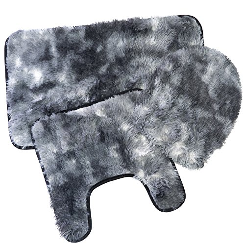 Sweet Home Collection 3 Piece Long Hair Faux Fur Shag Bath Mat, Contour, Seat Cover Rug Set, Black ()