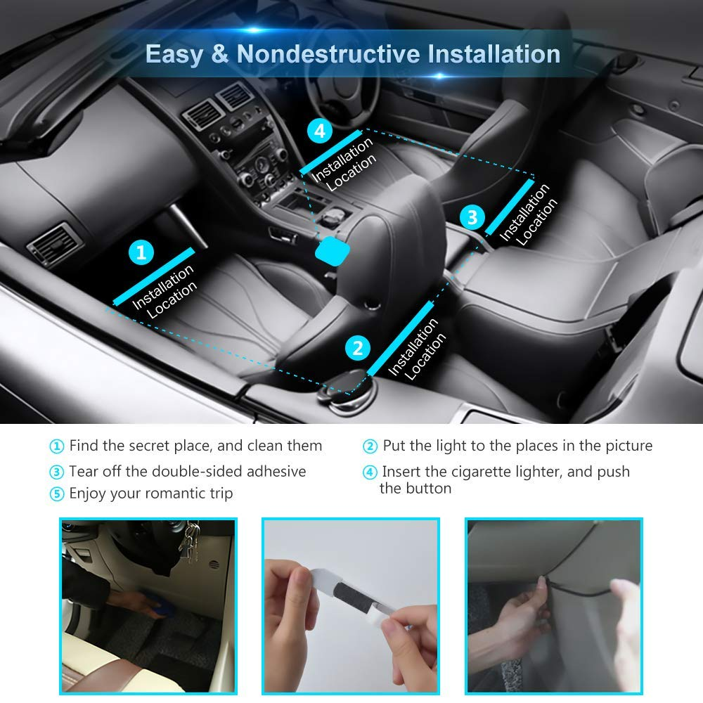 Car LED Interior Light Infinite DIY Colors with Sound Active Function with Rmote Controller Brighter LED Lamps DC 12V Wiiroon Newest Style Car Interior Lights