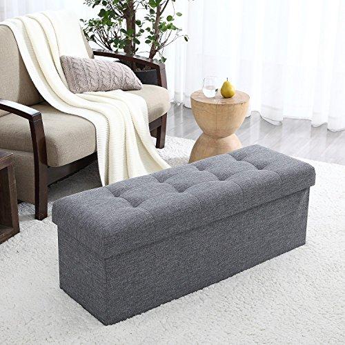 Ellington Home Foldable Tufted Linen Large Storage Ottoman Bench Foot Rest Stool/Seat - 15