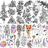 COKTAK 6 Pieces/Lot Large 3D Flower Rose Temporary Tattoos Stickers For Women Girls DOT Pattern Sexy Body Art Big Arm Tatoo Sheet Paper Lavender Black Geometric Adult Tattoo Daisy Peony Sweetpea Flora
