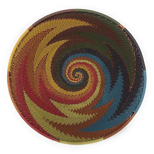 - Bridge for Africa Fair Trade Zulu Telephone Wire 8-inch Mini Platter Basket, Painted Desert