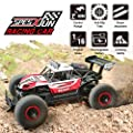RC Car, SPESXFUN 2018 Newest 2.4 GHz High Speed Remote Control Car 1/16 Scale Off Road RC Trucks with Two Rechargeable Batteries, Racing Toy Car for All Adults and Kids(Red)