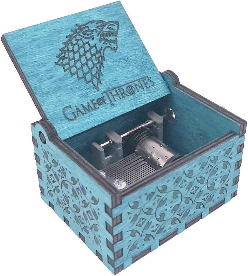 Caja de música de Juego de Tronos, manivela de mano, caja musical tallada de madera, juego de tronos, Design3-azul: Amazon.es: Juguetes y juegos