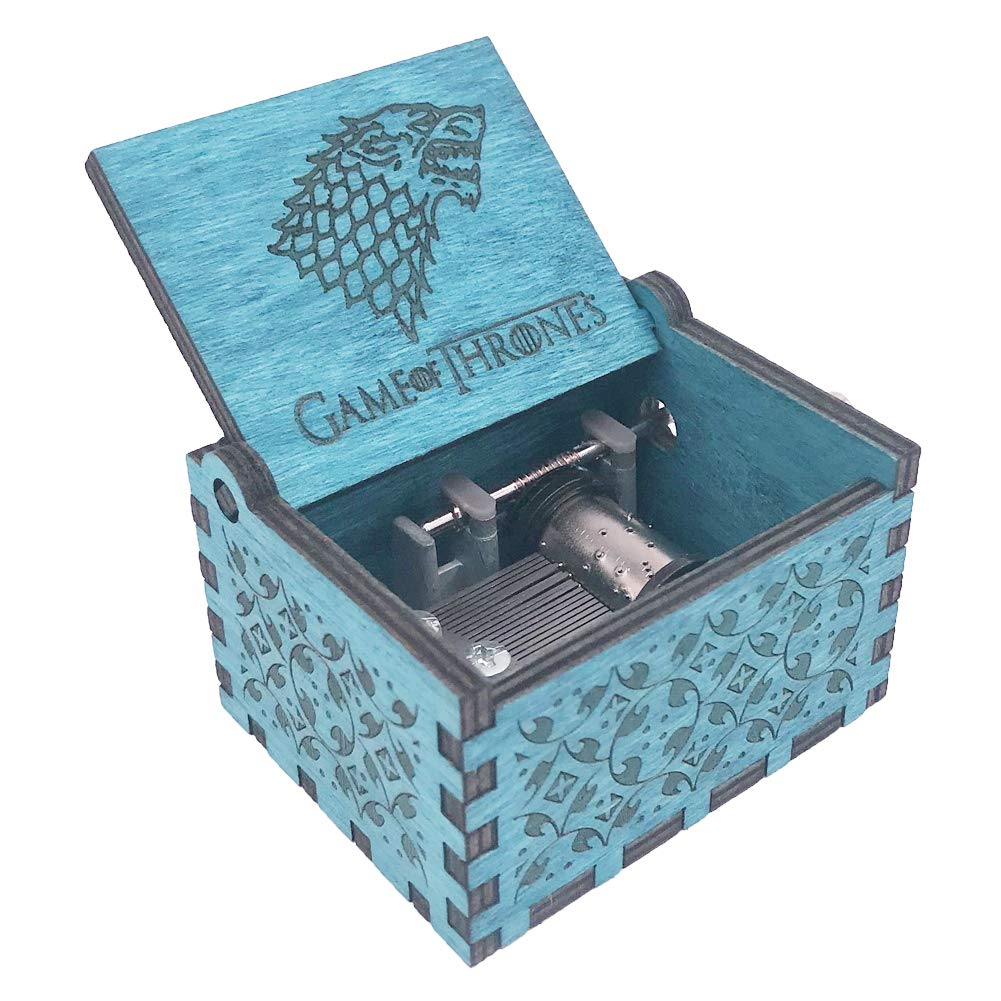Game of Thrones Music Box Hand Crank Musical Box Carved Wooden,Play The  Theme Song of Game of Thrones,Blue