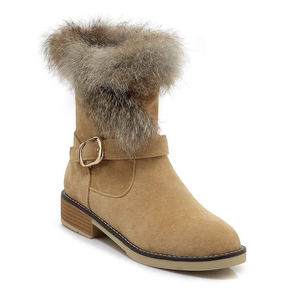 QINGMM QINGMM QINGMM Frauen Plüsch Schnee Stiefel 2018 Herbst Wildleder Niedrigen Ferse Martin Stiefel Große Größe Gelb 39 EU 4d3c67
