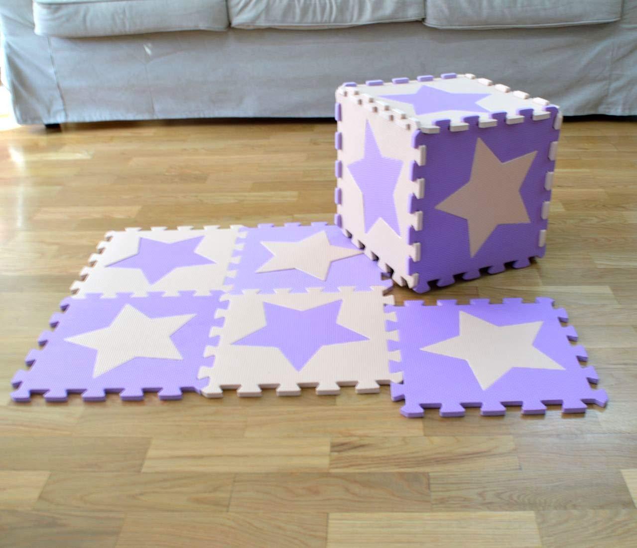 Pastas de Perro Beige y Rosa. Meitoku Alfombra de Goma EVA para ni/ños con puzle 10 alfombras de 30 x 30 x 1 cm