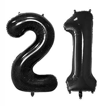 40inch Black 21 Helium Jumbo Digital Number Balloons 21st Birthday Decoration For Girls Or Boy
