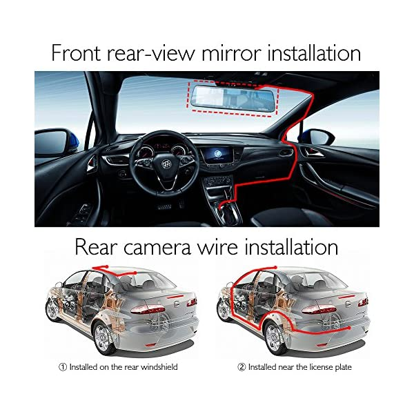 AKASO Dash Cam Backup Camera Kit FHD 1080P 5 Inch IPS Touch Screen Car Camera 170 Degree Super Wide Angle Front And Rear Mirror Dual Dashboard Recorder With G Sensor Night Vision WDR Loop Recording