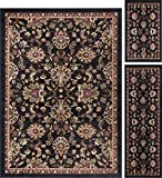 Cheap Leanna Transitional Oriental Black 3-Piece Area Rug Set, 3-Piece Set