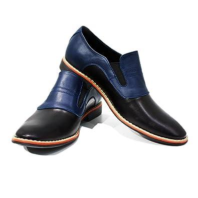 Modello Lecco - Cuero Italiano Hecho A Mano Hombre Piel Azul Marino Mocasines y Slip-Ons Loafers - Cuero Cuero Suave - Ponerse: Amazon.es: Zapatos y ...