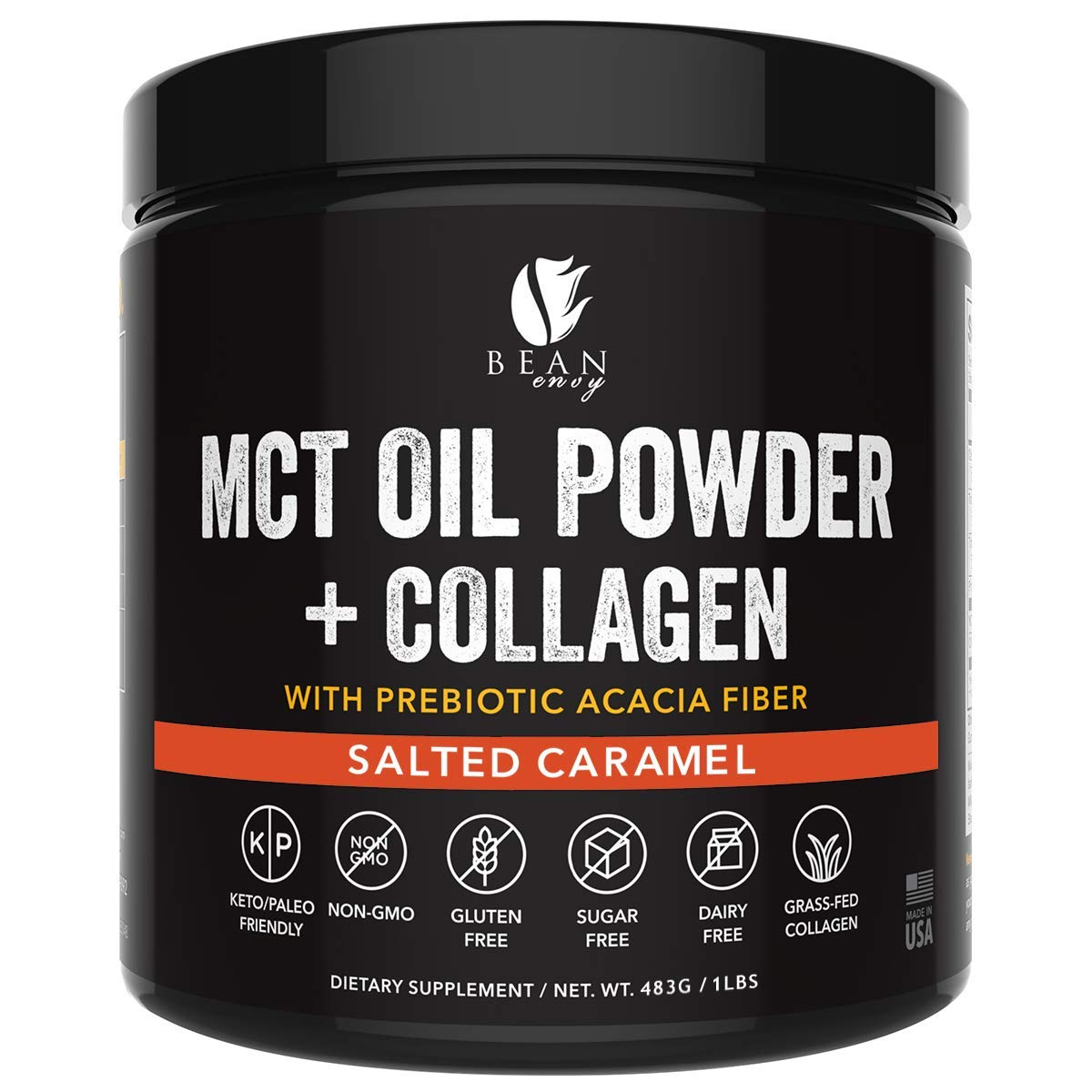 MCT Oil Powder + Collagen + Prebiotic Acacia Fiber - 100% Pure MCT's - Perfect for Keto - Energy Boost - Appetite Control - Healthy Gut Support - Salted Caramel by Bean Envy