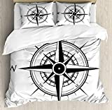 Compass Twin Duvet Cover Sets 4 Piece Bedding Set Bedspread with 2 Pillow Sham, Flat Sheet for Adult/Kids/Teens, Primitive Navigation Technology on the Sea Discovery of the World Travel Voyage