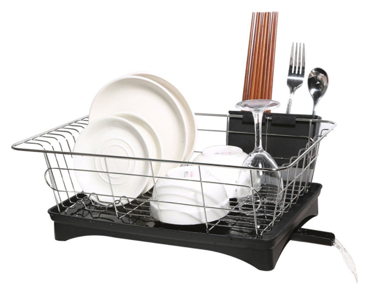 16.5 x 11 x 6 IN Dish Drying Rack with Drain Board Small Size DrainBoard Set for Kitchen Dish Drainer