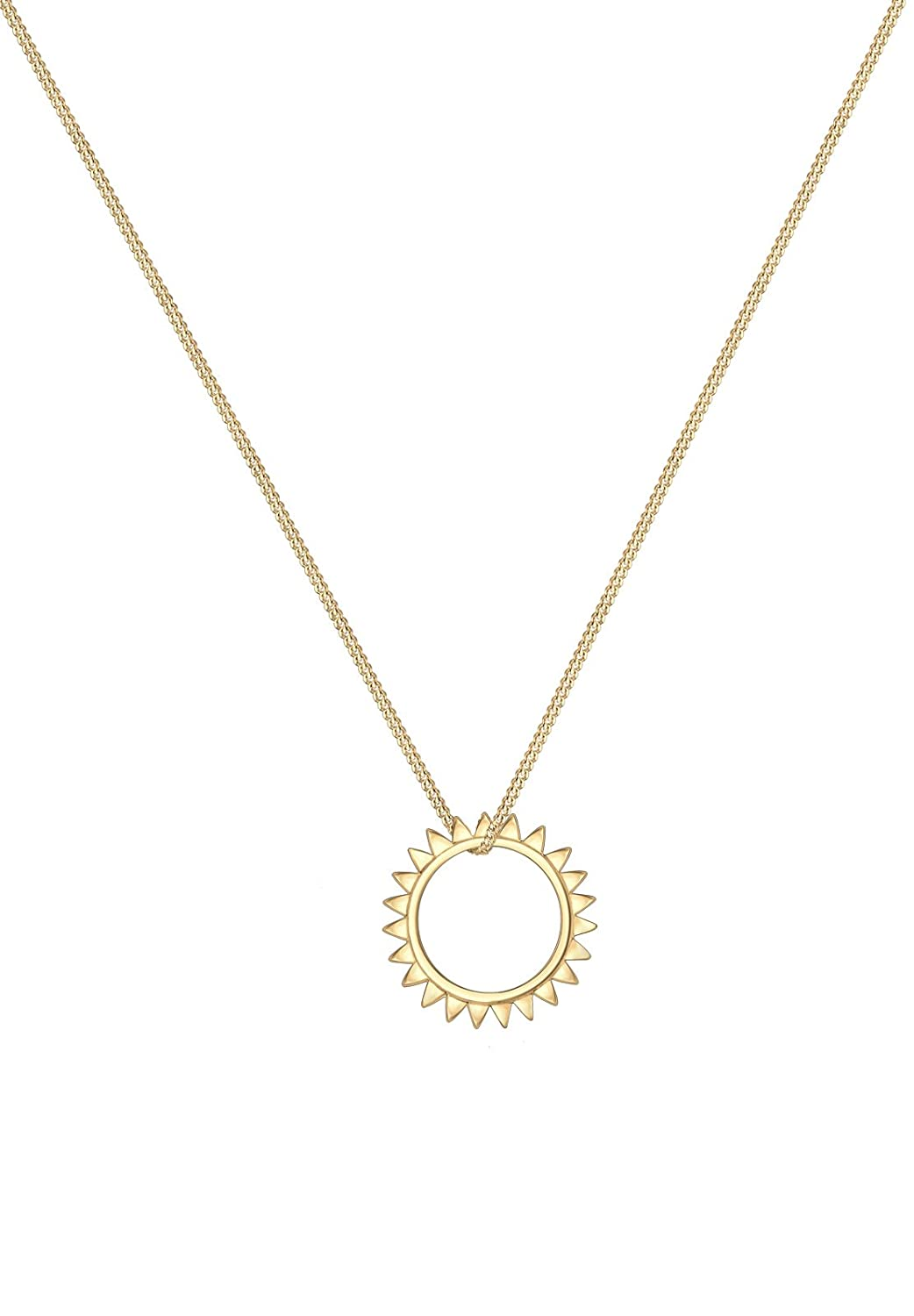 Elli Women's 925 Silver Gold Plated Sun Astro Geo Round Circle Necklace MXBD3R9fJc