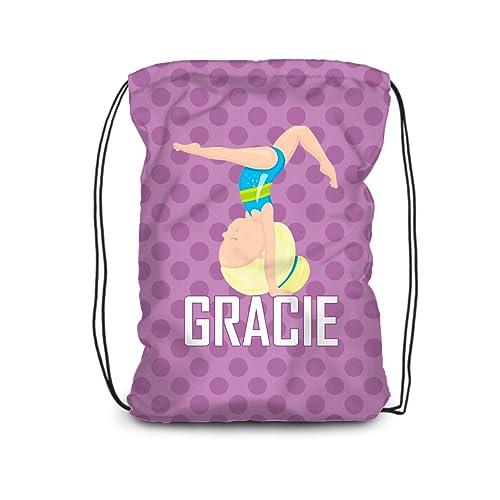 b90bd701ce51 Amazon.com  Gym Drawstring Backpack - Purple Polka Dot Gymnastic Bag   Handmade