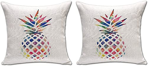 ChezMax Pineapple Stuffed Cushion 2 PCS Cotton Linen Throw Pillow Square Insert for Bedding Bedroom Decoration Decor Decorative