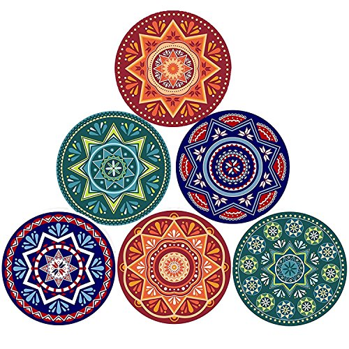 ENKORE Absorbent Coasters For Drinks - 6 Pretty Mandala Patterns on Big Ceramic Stones with Cork Back, Use as Elegant Home Decor and Save Your Furniture From Damage By Water Stain And Marks, No Holder by Enkore (Image #1)
