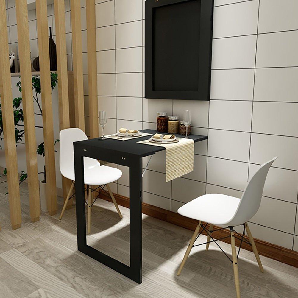 壁掛け式ダイニングテーブルスタディデスクコンピュータデスク74cm * 45cmヨーロッパ式ミニマリストオフィスサイドテーブルホワイトブラック (色 : ブラック) B07DPCF2RG ブラック ブラック