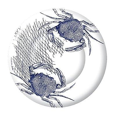 Boston International 8 Count Caskata Studio Round Paper Dinner Plates, Blue Crab
