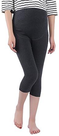 8801458593e50 Foucome Women's Over The Belly Super Soft Support Maternity Capri Leggings  Gray