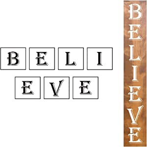 Large Believe Sign Stencils Vertical - 7 Pack Believe Stencil Templates for Painting on Wood, Reusable Letter Stencils for Christmas Front Door Porch Wood Signs