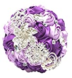 Abbie Home Advanced Customization Romantic Bride Wedding Holding Toss Bouquet Rose Brooch with Pearls and Rhinestone decorative brooches Accessories-Multi color selection (336PU)