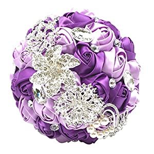 Abbie Home Advanced Customization Romantic Bride Wedding Holding Toss Bouquet Rose Brooch with Pearls and Rhinestone Decorative brooches Accessories-Multi Color Selection (336PU) 18