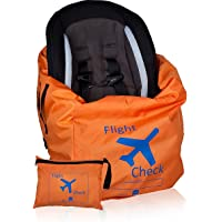 Car Seat Travel Bag and Carrier for Gate Check with Travel Pouch - Bright Orange with Blue Letters for Airport, Airplane…