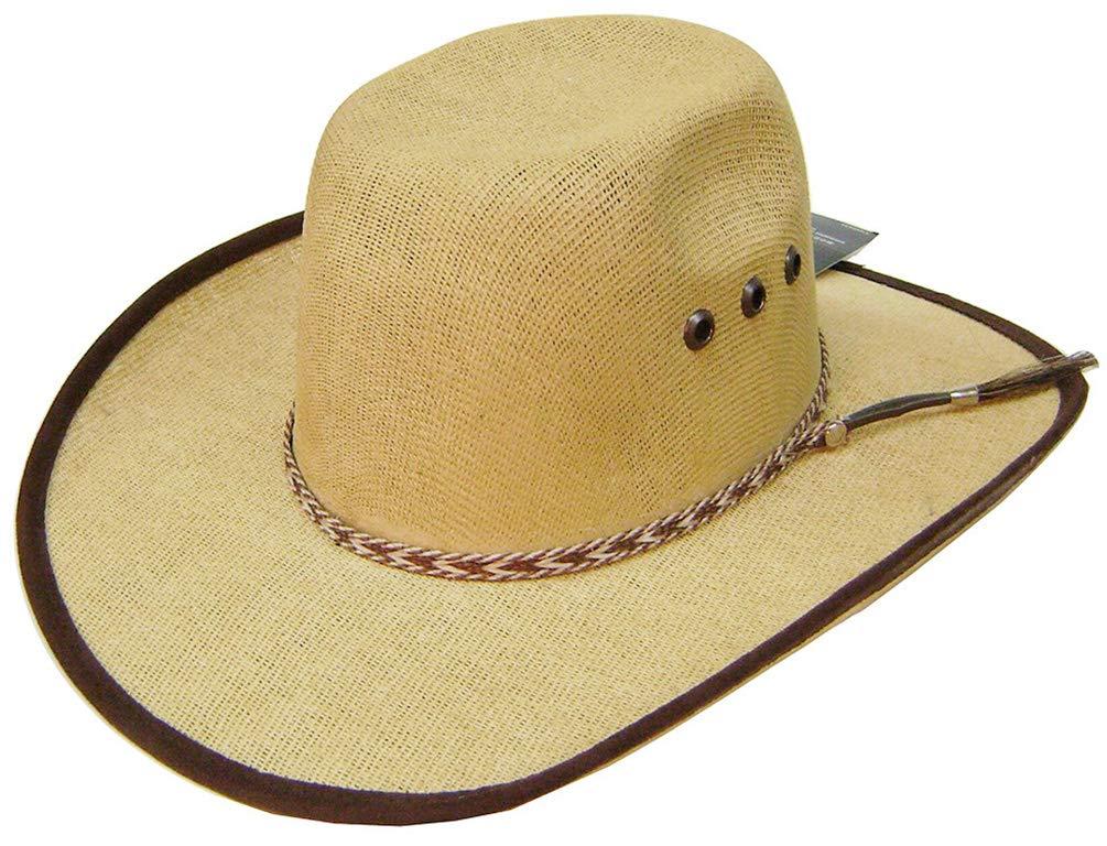 Modestone Kids Straw Cowboy Hat ''Sizes for Small Heads'' Fabric Edge Beige