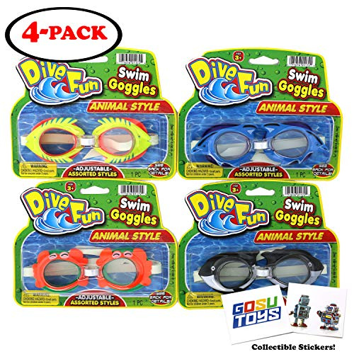 (Animal Swim Goggles Dive Fun Dolphin (Blue), Fish (Yellow), Crab (Orange), Killer Whale (Black) Pool Goggles Summer Beach Goggles for Kids with 2 GosuToys Stickers)