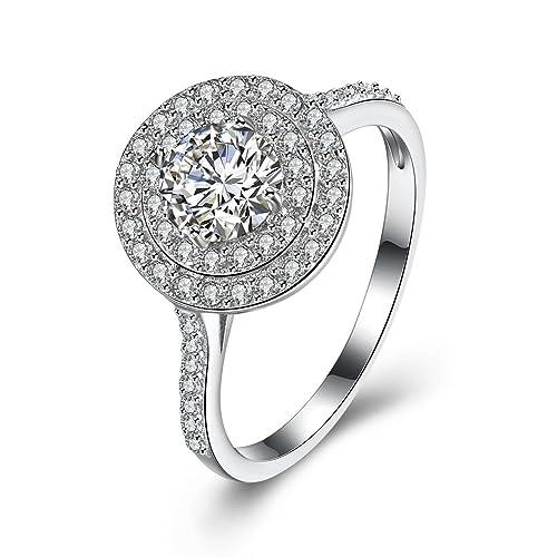Anillos de compromiso de plata de ley 925 con circonio cúbico, anillos de boda,