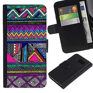 iKiki Tech / Cartera Funda Carcasa - Pattern Pen Drawing Purple - Samsung Galaxy S6 SM-G920