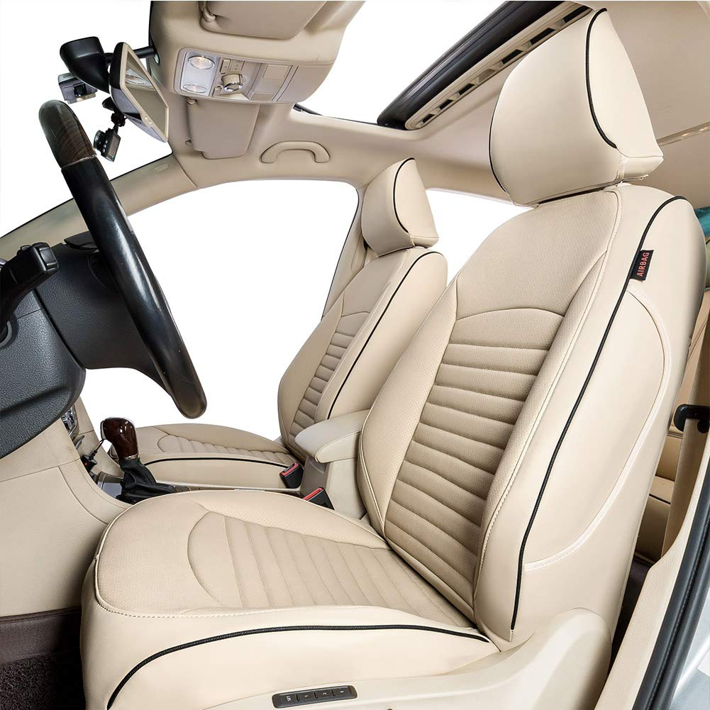 Lingyue Full Coverage Leatherette Custom Exact Fit Full Set Car Seat Cover, Front&Rear Seat Cover for CRV 2017 2018 2019, Airbag Compatible, Beige Color by Lingyue (Image #1)