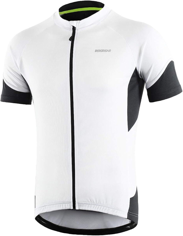 BERGRISAR Men's Basic Cycling Jerseys Short Sleeves Bike Bicycle Shirt Zipper Pockets