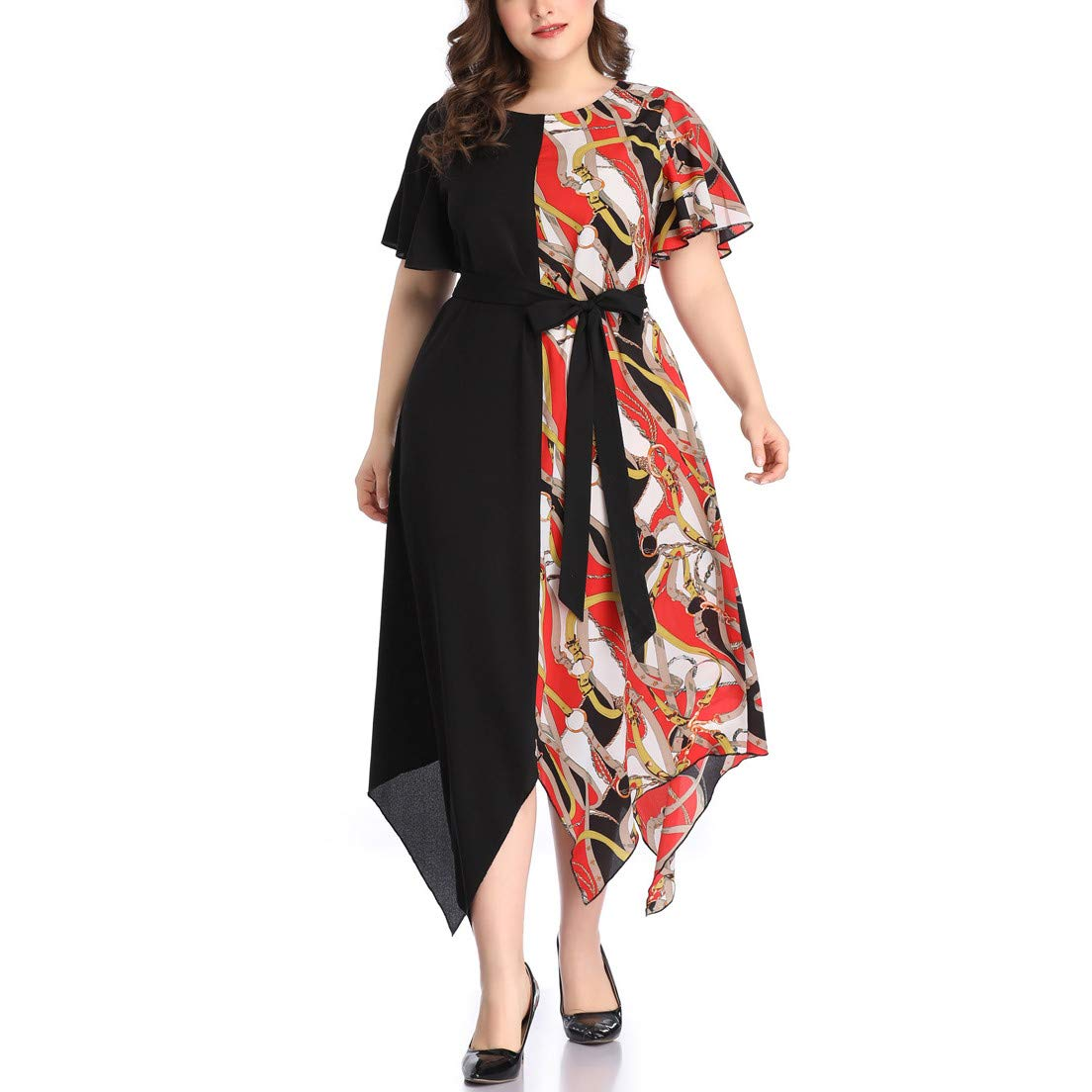 Short Bell Sleeve Print V Neck Women's Maxi Dress Party Dress Irregular Hem Patchwork Dress Purple