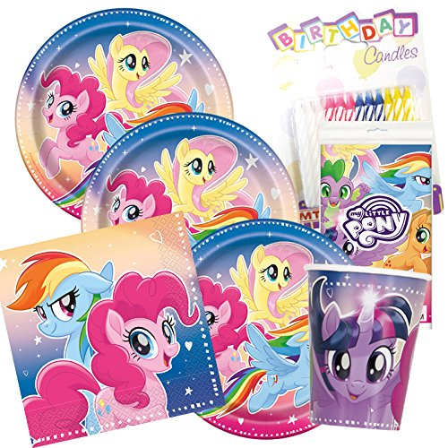 My Little Pony Party Plates Napkins Cups Serves 16 With Candles -