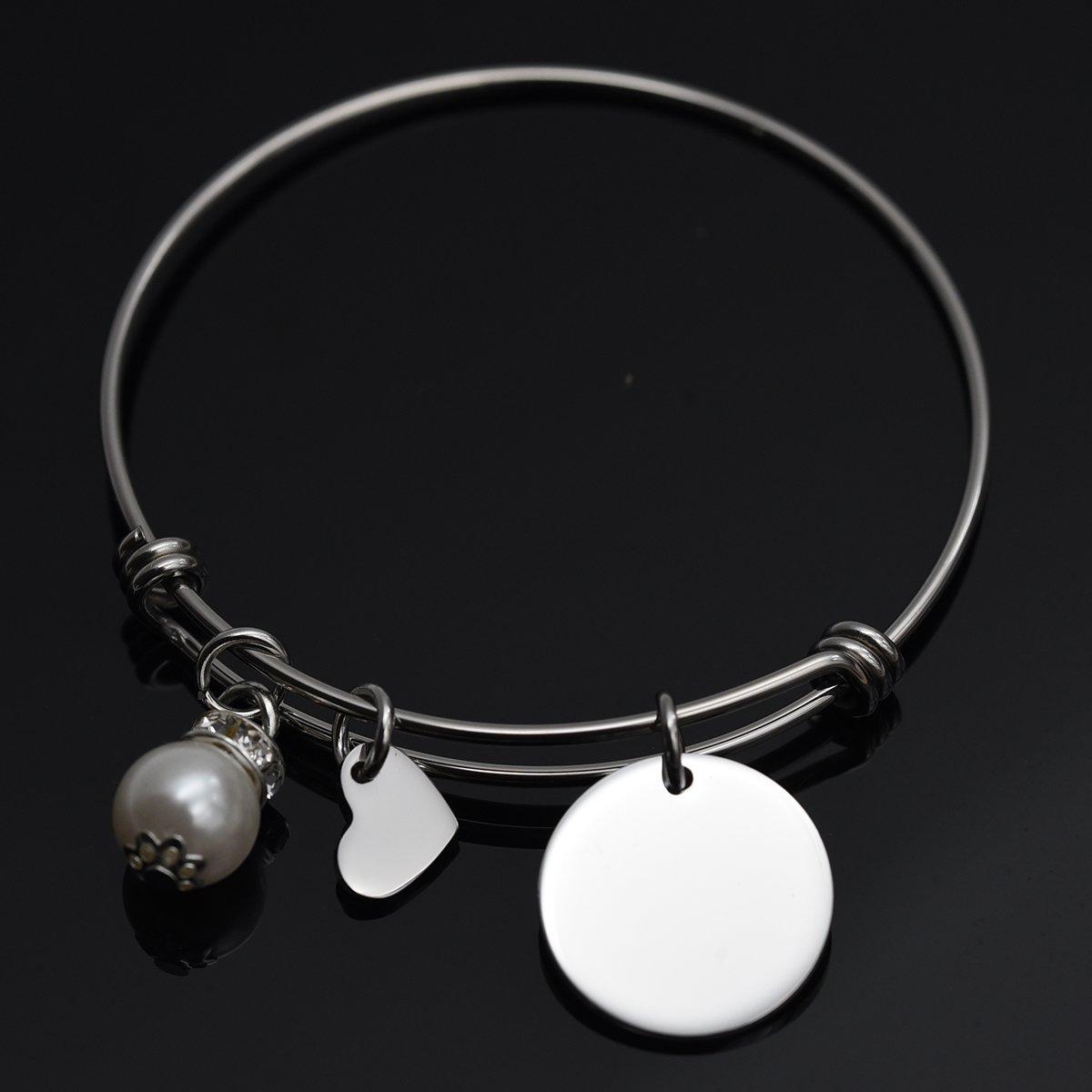 Remember I Love You Mom Bangle Bracelet (White) by LParkin (Image #5)