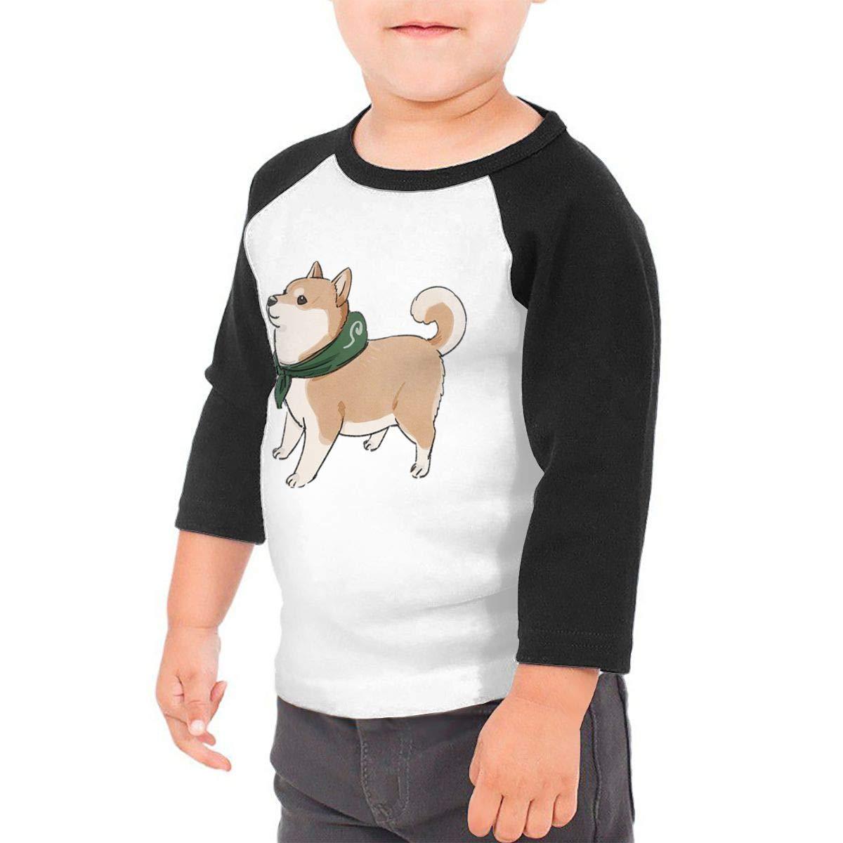 Cute Shiba Inu Kids Jersey Raglan T-Shirt Children 3//4 Sleeve Baseball Shirt Top