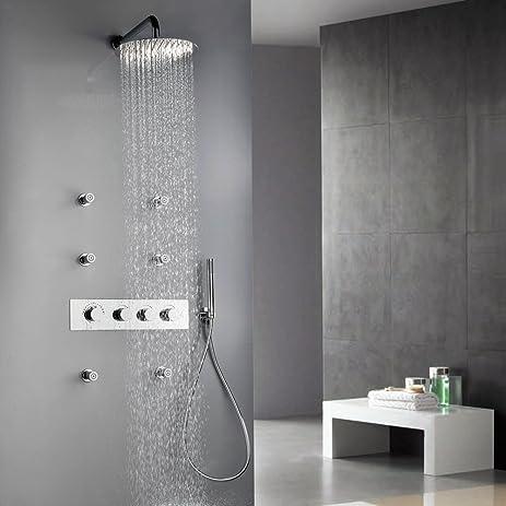 Jiuzhuo Bathroom Shower System Wall Mount Rain Shower Head with 6 ...