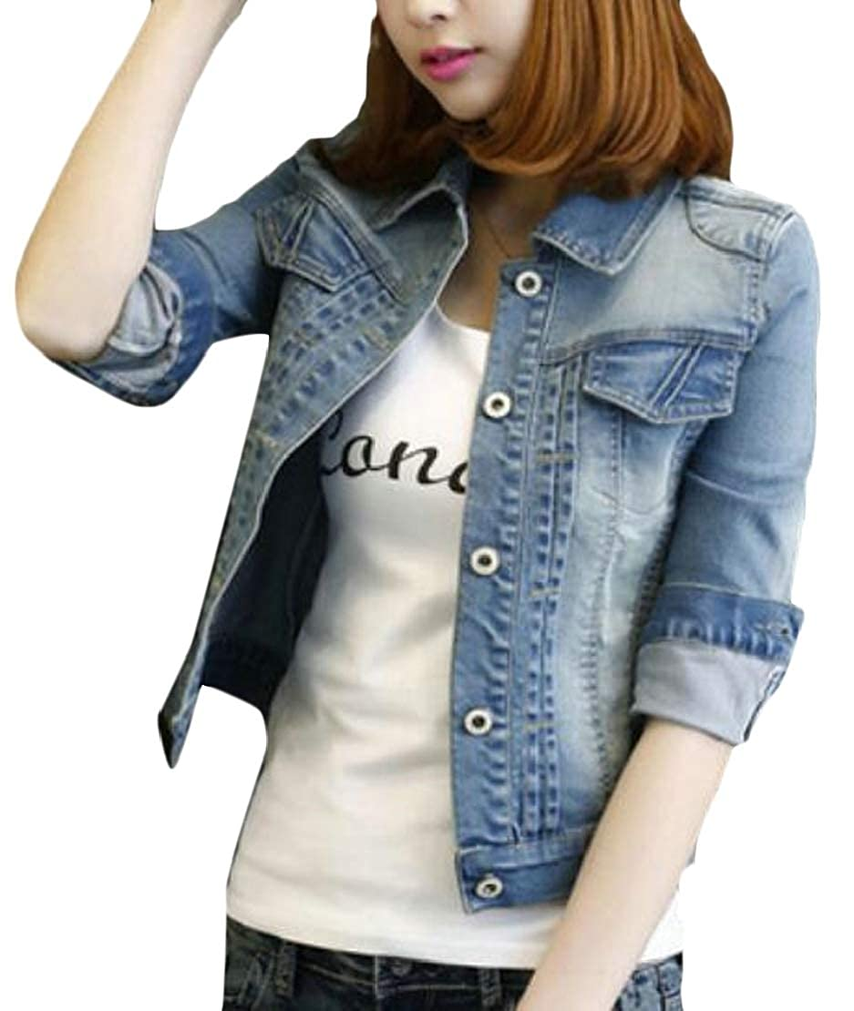 MMCP Women Classic Long Sleeve Washed Button Up Rugged Wear Unlined Denim Jacket Coat