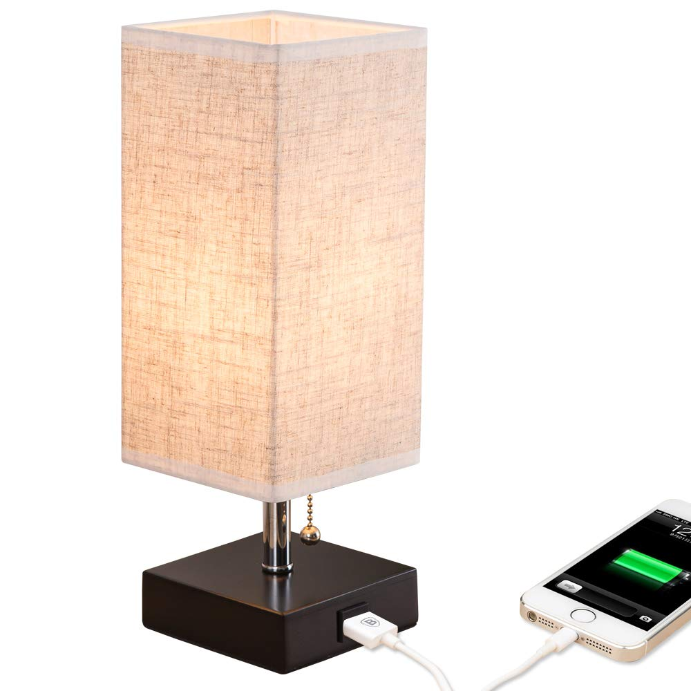 ZEEFO USB Table Lamp, Modern Design Bedside Table Lamps with USB Charging Port, Wooden Black Base and Fabric Shade Nightstand Table Lamps is Perfect for Bedroom, Living Room, Study Room, Guest Room by ZEEFO