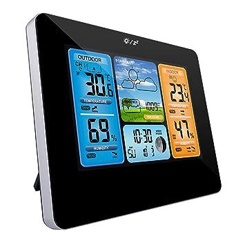 Zubita Estación meteorológica, Relojes de monitoreo meteorológico con Sensor Interior Exterior Pantalla LED Colorida Temperatura Digital Humedad ...