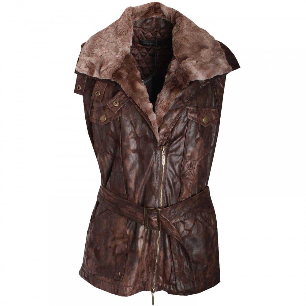 Javier Simorra Womens Faux Fur Gilet 14 Brown: Amazon.es: Ropa y accesorios