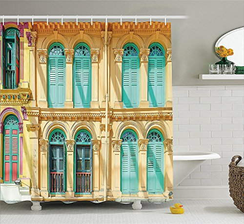 [Shutters Decor Collection Window and Door Colorful Cultural Design ArchitectureWooden House at Sunny Day Polyester Fabric Bathroom Shower Curtain Beige] (The Pope Costume At The White House)