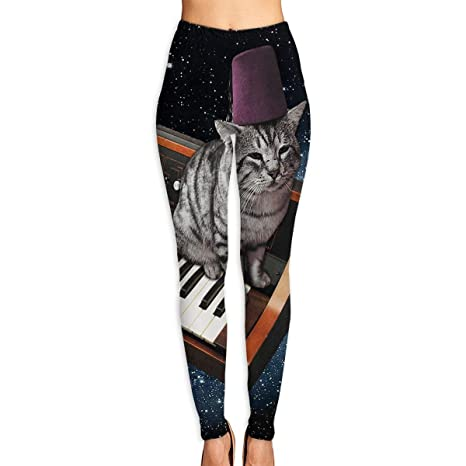 Amazon.com: Womens Yoga Leggings Pants Cool Piano Space Cat ...