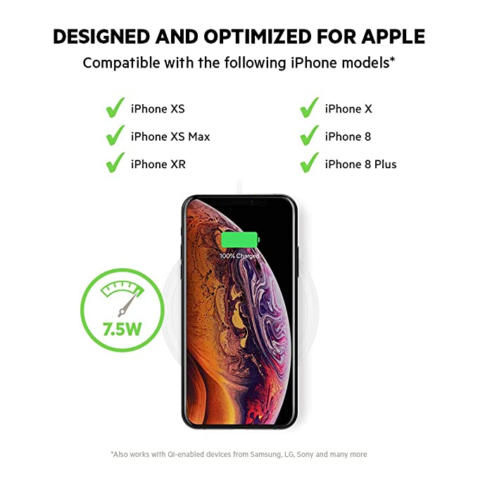 Belkin Boost Up Wireless Charging Pad 7 5W – Fast iPhone Wireless Charger  for iPhone XS, XS Max, XR, X, 8, 8 Plus, AirPods 2 (Compatible w/ Samsung,