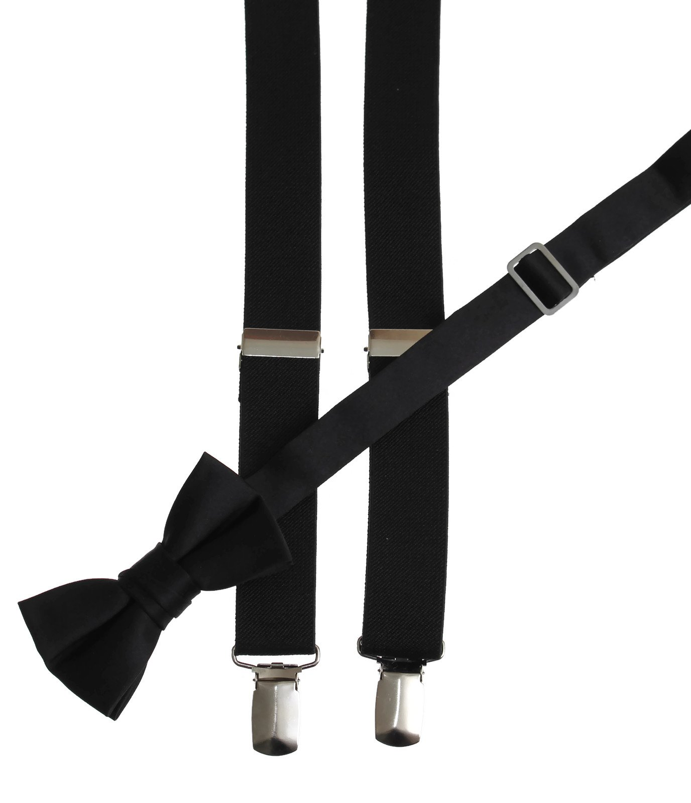 Matching Black Adjustable Suspender and Bow Tie Sets, Kids to Adults Sizing (30'' Boys Ages 6-11)