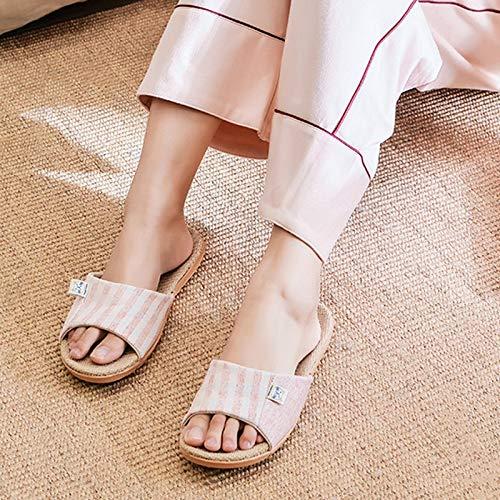 Panno esterno Pantofole Antiscivolo Casa Casa Di Scarpe Traspirante Signore Cotone Toe Per Interno Lino Morbido In Le Pink Da Open Donne 775xqrzwa