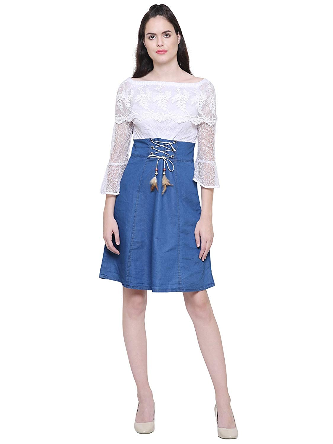 C.Cozami Women s Solid Casual Denim Dark Blue Off Shoulder Dress   Amazon.in  Clothing   Accessories deb6cf0a2